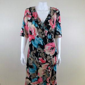 MSK Colorful Floral Surplice Stretch Dress sz 12